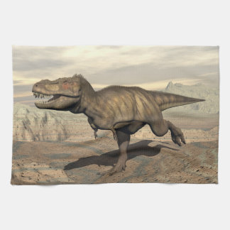 Tyrannosaurus running - 3D render Tea Towel