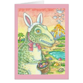 TYRANNOSAURUS T REX EASTER BUNNY GREETING CARD