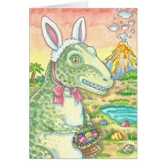TYRANNOSAURUS T-REX EASTER BUNNY NOTE CARD Dino
