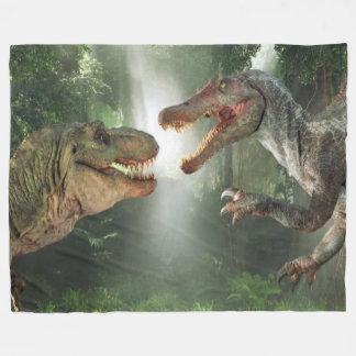 Tyrannosaurus vs Spinosaurus Fleece Blanket