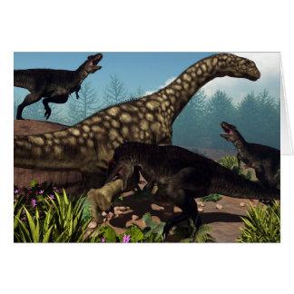 Tyrannotitan attacking an argentinosaurus dinosaur card