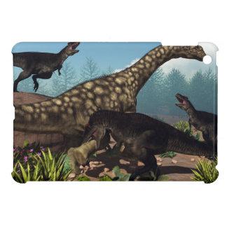 Tyrannotitan attacking an argentinosaurus dinosaur cover for the iPad mini