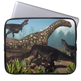 Tyrannotitan attacking an argentinosaurus dinosaur laptop sleeve