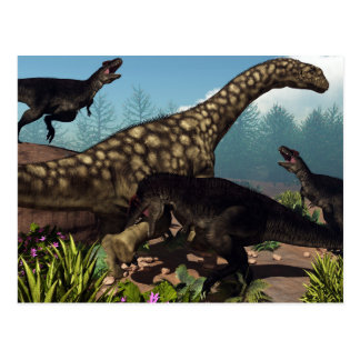 Tyrannotitan attacking an argentinosaurus dinosaur postcard