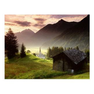 Tyrol Austria Misty Mountain Village Postcard