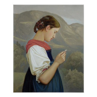 Tyrolean Girl Contemplating a Crucifix, 1865 Poster