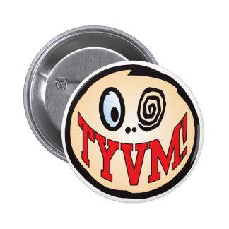 TYVM Text Head Pinback Button