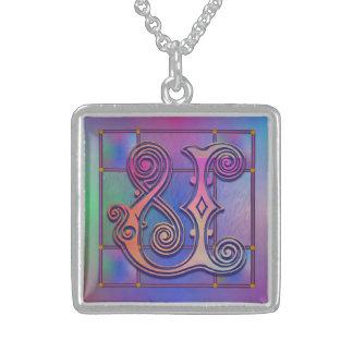 U Initial Monogram Blue Rain Glass Necklaces Jewelry
