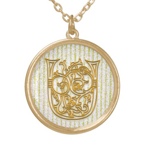 "U Initial Monogram ""Gold Pin Stripe"" Necklace Necklace"