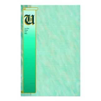 "U Initial ""Teal Wind"" Initial Fine Lined Stationery"