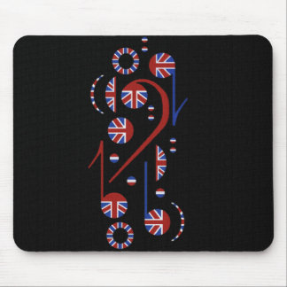 U.K. Flag Musical Notes Mouse Pad