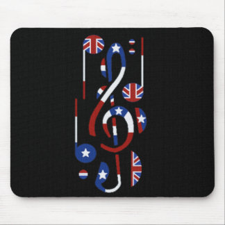 U.K. & USA Music Notes Mouse Pad
