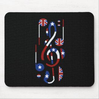 U.K. & USA Music Notes Mouse Pad