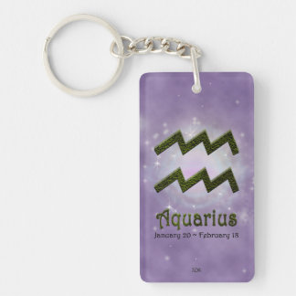 U Pick Color/ Aquarius Personalize Lost & Found Double-Sided Rectangular Acrylic Key Ring