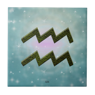 U Pick Color/ Aquarius Zodiac Sign Small Square Tile