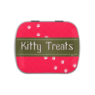 U Pick Color Background/ Kitty Cat Traveling Treat Jelly Belly Candy Tin