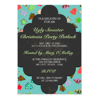 U Pick Color/ Blackboard Chalk Christmas Cookies 13 Cm X 18 Cm Invitation Card