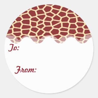 U pick Color/ Brown Giraffe Print in Mosaic Tile Round Sticker