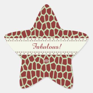 U pick Color/ Brown Giraffe Print in Mosaic Tile Star Sticker