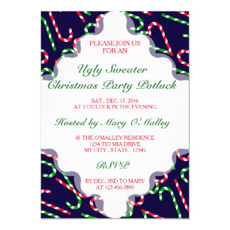 U Pick Color/ Christmas Holiday Candy Canes 13 Cm X 18 Cm Invitation Card