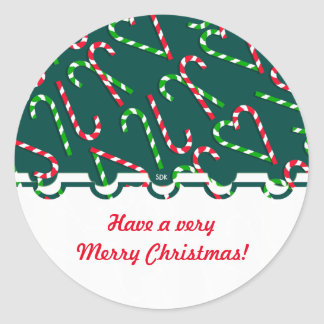 U Pick Color/ Christmas Holiday Candy Canes Round Sticker