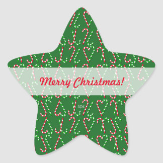 U Pick Color/ Christmas Holiday Candy Canes Star Sticker