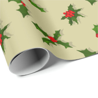 U Pick Color/ Christmas Holiday Holly Berries Wrapping Paper