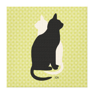 U Pick Color/Good Luck Black and White Kitty Cats Gallery Wrapped Canvas