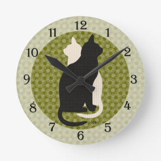 U Pick Color/Good Luck Black and White Kitty Cats Wall Clocks