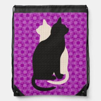 U Pick Color/Good Luck Black & White Kitty Catz Drawstring Backpack