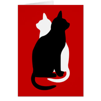 U Pick Color/Good Luck Black & White Kitty Catz Greeting Card