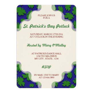 U-pick Color/ Green Good Luck Irish 4 Leaf Clover 13 Cm X 18 Cm Invitation Card