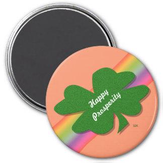 U-pick Color/ Green Good Luck Irish 4 Leaf Clover 7.5 Cm Round Magnet