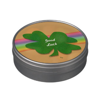 U-pick Color/ Green Good Luck Irish 4 Leaf Clover Candy Tin
