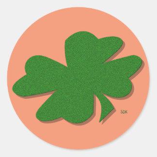 U-pick Color/ Green Good Luck Irish 4 Leaf Clover Round Sticker