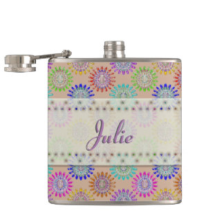 U pick Color/ Hand Blown Glass Crystal Flowers Flask