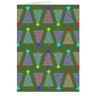 U Pick Color/ Merry Christmas Holiday Trees Greeting Card
