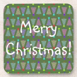 U Pick Color/ Merry Christmas Holiday Trees Coaster