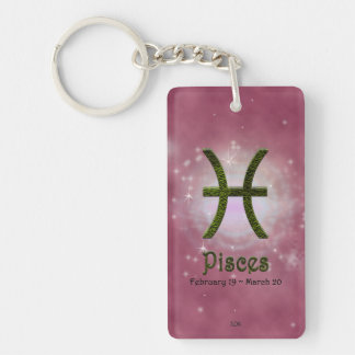 U Pick Color/ Pisces Personalize Lost & Found Double-Sided Rectangular Acrylic Key Ring