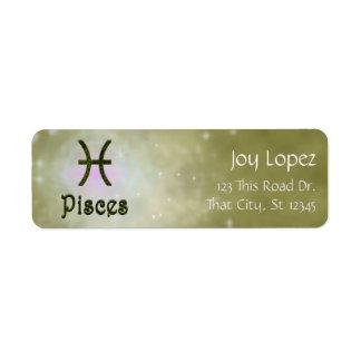 U Pick Color/ Pisces Zodiac Sign Personalize Return Address Label