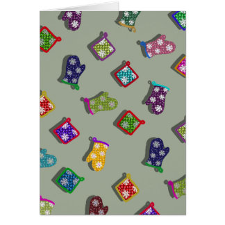 U Pick Color/ Potholder Oven Mitts with Snowflakes Card