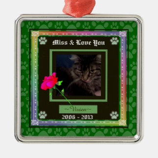 U Pick Color/Rainbow Personalized Pet Memorial Silver-Colored Square Decoration