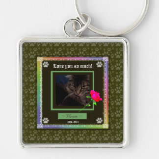 U Pick Color/Rainbow Personalized Pet Memorial Silver-Colored Square Key Ring