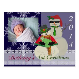 U Pick Color/ Snowman 1st Baby's First Christmas Postcard