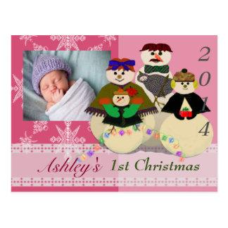 U Pick Color/ Snowman 3rd Baby's First Christmas Postcard