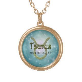 U Pick Color/ Taurus Zodiac Sign Round Pendant Necklace