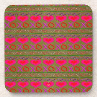 U Pick Color/ Valentine Hugs & Kisses Drink Coasters