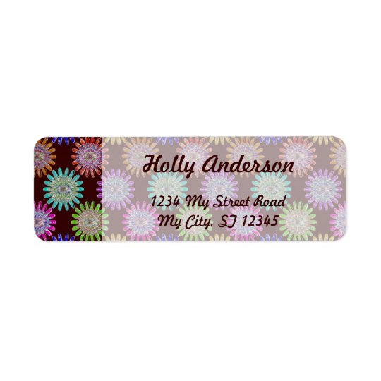 U pick Colour/ Hand Blown Glass Crystal Flowers Return Address Label