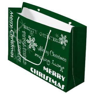 U Pick Colour/ Personalised White Snowflakes Large Gift Bag