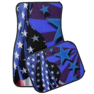U.S.A. America Flag and Blue Stars Floor Mat